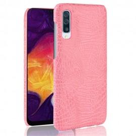 Coque Samsung Galaxy A50 Croco Cuir Rose
