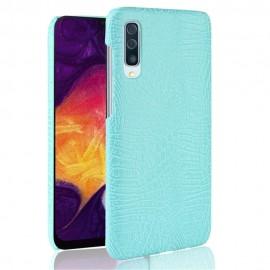Coque Samsung Galaxy A50 Croco Cuir Turquoise