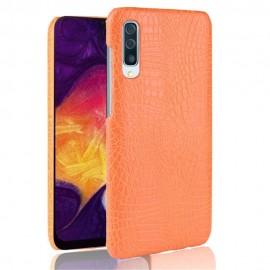 Coque Samsung Galaxy A50 Croco Cuir Orange