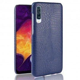Coque Samsung Galaxy A50 Croco Cuir Bleue