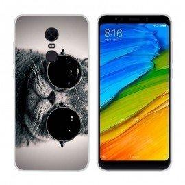 Coque Silicone Xiaomi Redmi 5 Plus Chat avec lunettes