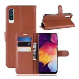 Etuis Portefeuille Samsung Galaxy A50 Simili Cuir Marron