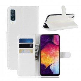 Etuis Portefeuille Samsung Galaxy A50 Simili Cuir Blanc