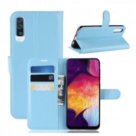 Etuis Portefeuille Samsung Galaxy A50 Simili Cuir Bleu