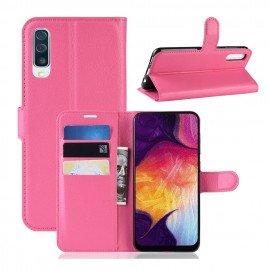 Etuis Portefeuille Samsung Galaxy A50 Simili Cuir Fushia