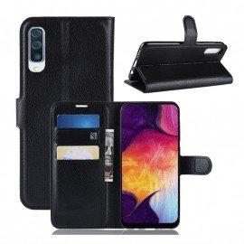Etuis Portefeuille Samsung Galaxy A50 Simili Cuir Noir