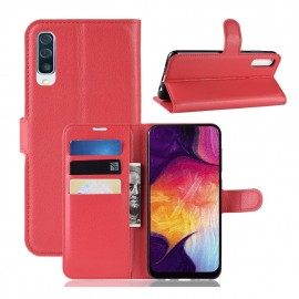 Etuis Portefeuille Samsung Galaxy A50 Simili Cuir Rouge