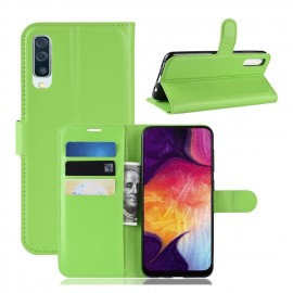 Etuis Portefeuille Samsung Galaxy A50 Simili Cuir Vert