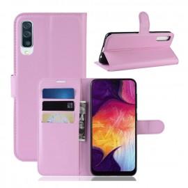 Etuis Portefeuille Samsung Galaxy A50 Simili Cuir Rose