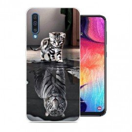 Coque Silicone Samsung Galaxy A50 Chat Mirroir