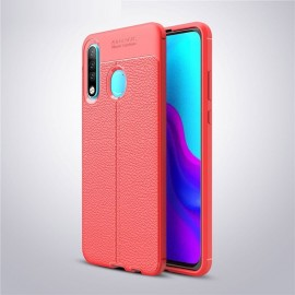Coque Silicone Huawei P30 Lite  Cuir 3D Rouge