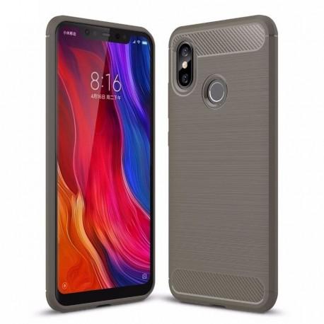 Coque Silicone Xiaomi MI 8 Brossé Grise
