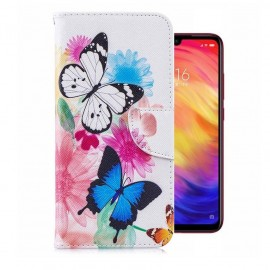 Etuis Portefeuille Xiaomi Redmi 7 Papillons