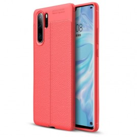 Coque Silicone Huawei P30 Pro Cuir 3D Rouge