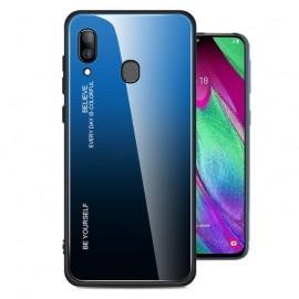 Coque Samsung Galaxy A40 Silicone et Verre Trempé Bleue