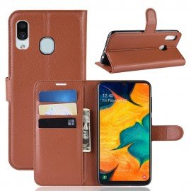 Etuis Portefeuille Samsung Galaxy A40 Simili Cuir Marron