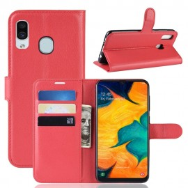 Etuis Portefeuille Samsung Galaxy A40 Simili Cuir Rouge