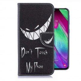Etuis Portefeuille Samsung Galaxy A40 Touche pas à mon Smartphone