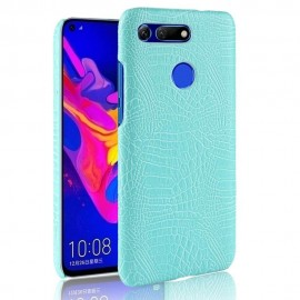 Coque Honor View 20 Croco Cuir Turquoise