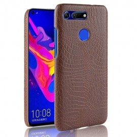 Coque Honor View 20 Croco Cuir Marron