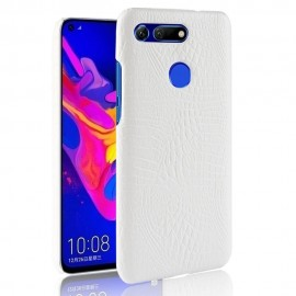 Coque Honor View 20 Croco Cuir Blanche