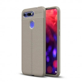 Coque Silicone Honor View 20 Cuir 3D Grise
