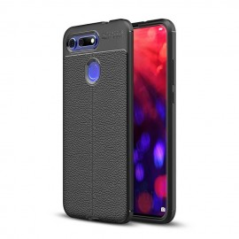 Coque Silicone Honor View 20 Cuir 3D Noire