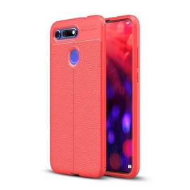 Coque Silicone Honor View 20 Cuir 3D Rouge