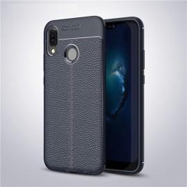 Coque Silicone Huawei P20 Lite Cuir 3D Bleu