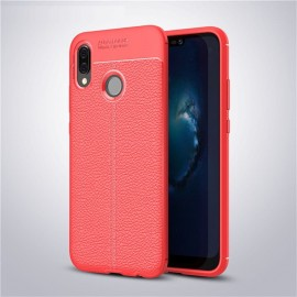 Coque Silicone Huawei P20 Lite Cuir 3D Rouge