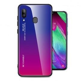 Coque Samsung Galaxy A20 Silicone et Verre Trempé Lila