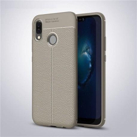 Coque Silicone Huawei P20 Lite Cuir 3D Grise