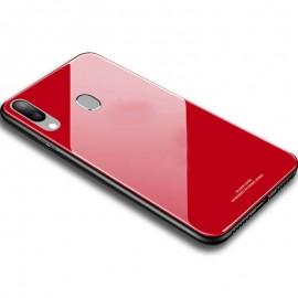 Coque Galaxy A40 Silicone et Verre Trempé Rouge