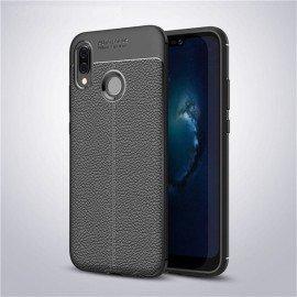 Coque Silicone Huawei P20 Lite Cuir 3D Noir