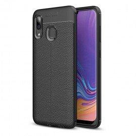 Coque Silicone Samsung Galaxy A20 Cuir 3D Noire