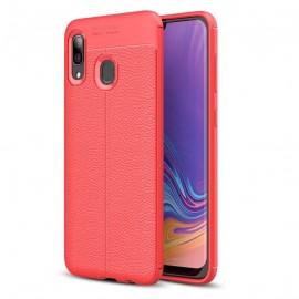 Coque Silicone Samsung Galaxy A20 Cuir 3D Rouge