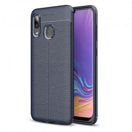 Coque Silicone Samsung Galaxy A20 Cuir 3D Bleue