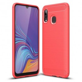 Coque Samsung Galaxy A20 Carbone TPU Rouge