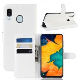 Etuis Portefeuille Samsung Galaxy A20 Simili Cuir Blanc