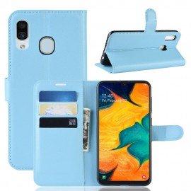Etuis Portefeuille Samsung Galaxy A20 Simili Cuir Bleu