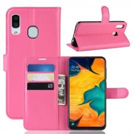 Etuis Portefeuille Samsung Galaxy A20 Simili Cuir Fushia