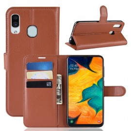 Etuis Portefeuille Samsung Galaxy A20 Simili Cuir Marron