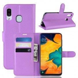 Etuis Portefeuille Samsung Galaxy A20 Simili Cuir Lila