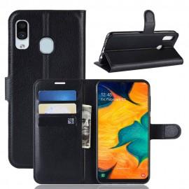 Etuis Portefeuille Samsung Galaxy A20 Simili Cuir Noir