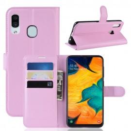 Etuis Portefeuille Samsung Galaxy A20 Simili Cuir Rose