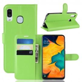 Etuis Portefeuille Samsung Galaxy A20 Simili Cuir Vert