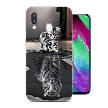 Coque Silicone Samsung Galaxy A20 Chat Mirroir