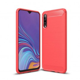 Coque Silicone Samsung Galaxy A70 Brossé Rouge