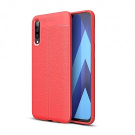 Coque Silicone Samsung Galaxy A70 Cuir 3D Rouge