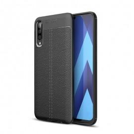 Coque Silicone Samsung Galaxy A70 Cuir 3D Noire